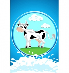 Cow and landscape vector