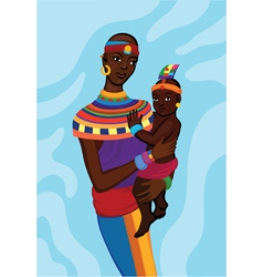 African woman with her small child vector