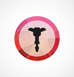 Jackhammer circle pink triangle background icon vector