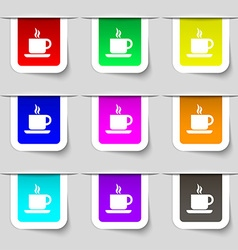 Coffee icon sign set of multicolored modern labels vector
