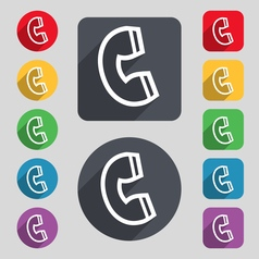 Handset icon sign a set of 12 colored buttons and vector
