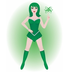 Superhero atomic energy girl vector