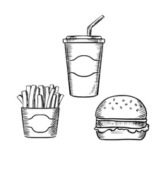 Hamburger french fries and soda cup vector