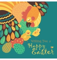 Easter chicken with easter eggs vector image