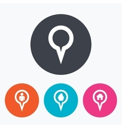 Map pointer icons home food and user location vector