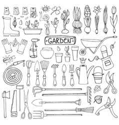 Spring garden doodle setOutline toolsplants vector image