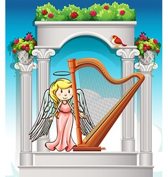 Angel playing harp in garden vector