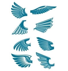 Blue open wings symbols for tattoo design vector