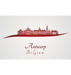 Antwerp skyline in red vector