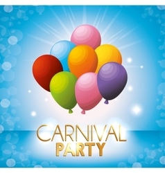 Carnival party colored balloons bright blue vector