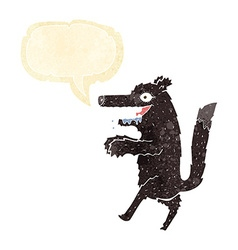 Cartoon big bad wolf with speech bubble vector