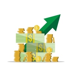 Cash growth Green arrow Dollars and coins vector image