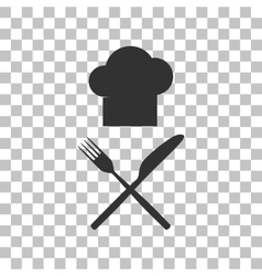 Chef with knife and fork sign Dark gray icon on vector image