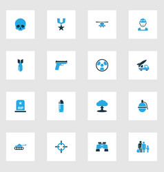 combat colorful icons set collection of gun vector image vector image