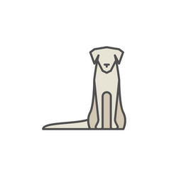 Dog sitting colorful icon vector