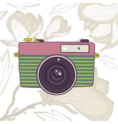 Elegant vintage camera on floral background vector image