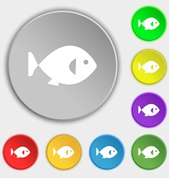 Fish icon sign symbol on eight flat buttons vector