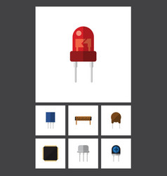 Flat icon electronics set of resist bobbin vector