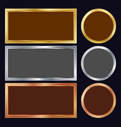 Gold silver bronze copper metal frames vector