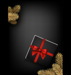 grey new year background with gift vector image