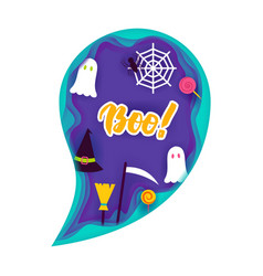 Halloween ghost papercut concept vector