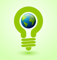 Light bulb earth icon vector image vector image