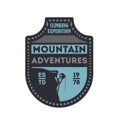 Mountain outdoor adventures vintage badge vector