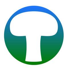Mushroom simple sign white icon in bluish vector