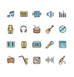 Music Icon Set Color vector image vector image