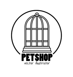 Pet shop symbol cage mascot vector