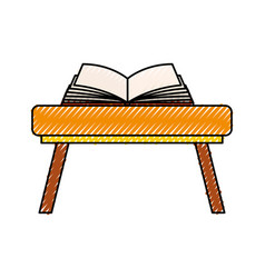 School table with book isolated icon vector
