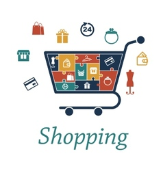 Shopping concept puzzles with a cart and icons vector