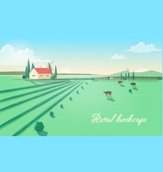 spectacular rural landscape with farm building vector image