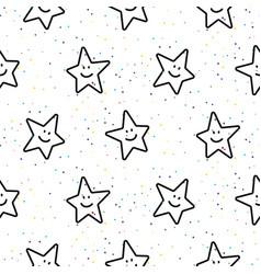 stars smileys black and white seamless vector image