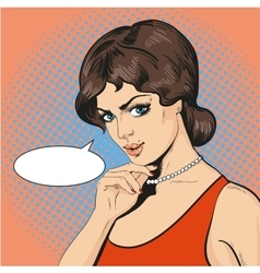 Thinking woman in retro pop vector