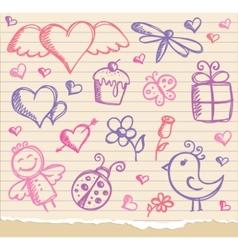 valentines day symbols vector image vector image