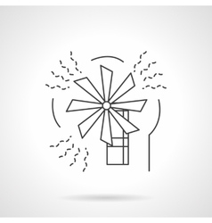 Wind energy flat line design icon vector