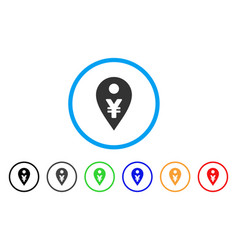 Yen map marker rounded icon vector