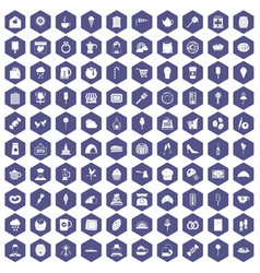 100 patisserie icons hexagon purple vector