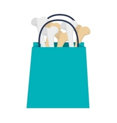 Shopping bag with bones icon vector