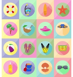 Objects for recreation a beach flat icons 19 vector