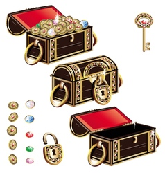 Treasure Chest jewelry ornament set vector image