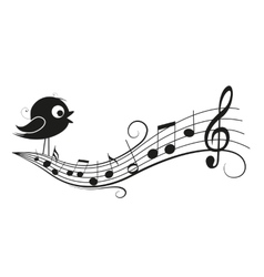 Musical notes with bird vector