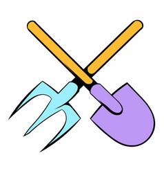Shovel and pitchfork icon cartoon vector