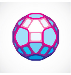3d ball made with black lines futuristic origami vector