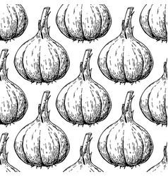 Garlic hand drawn seamless pattern vector