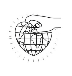silhouette side view of hand holding a earth globe vector image