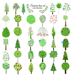 Colored floral botanical green trees collection vector