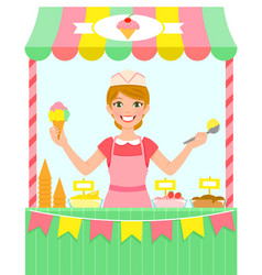 Ice cream stall vector