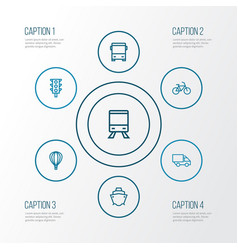 Shipment outline icons set collection of bike vector